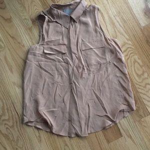 100% silk blouse button up back button detail